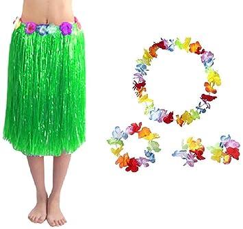 EVRYLON Falda Hawaiana Collar Moana vaiana Mujer 60cm Verde ...