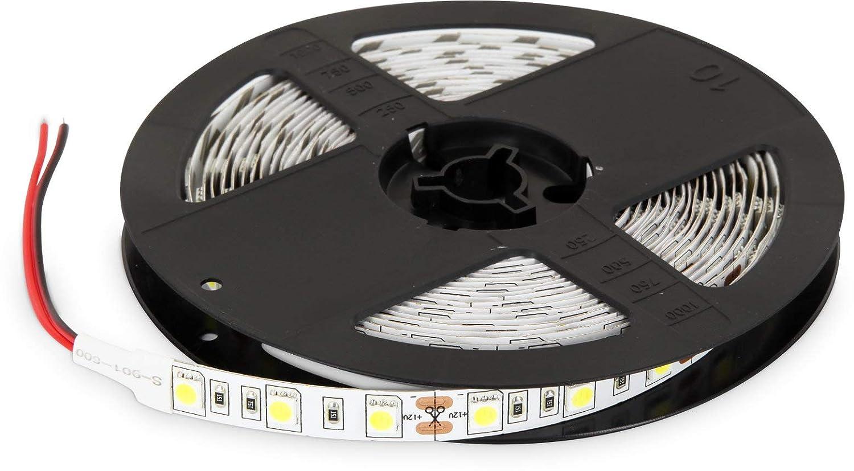(4,98& # x20AC;/M) 5m strisce LED 12V Dimmerabile–72W 3600lm 300X 5050SMD 60SMD/M–IP20autoadesivo–10mm–Bianco caldo (3000K) [Classe di efficienza energetica A+] HAVA