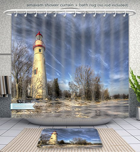 Amavam Bathroom 2-Piece Suit The Historic Marblehead Lighthouse in Northwest Ohio Sits Along The Rocky Shores of Lake Erie Seen Shower Curtain and Bath Rug Set, 60