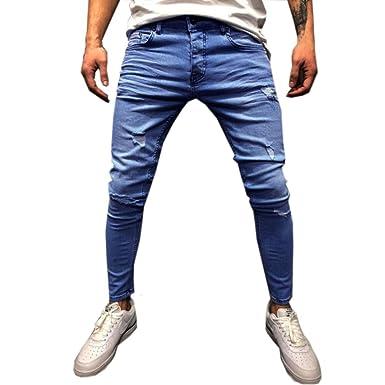 6eafa9010f45 Ansenesna Hosen Herren Jeans Blau Lang Slim Zerrissen Vintage Freizeithose  Männer Denim Mit Reißverschluss Taschen (