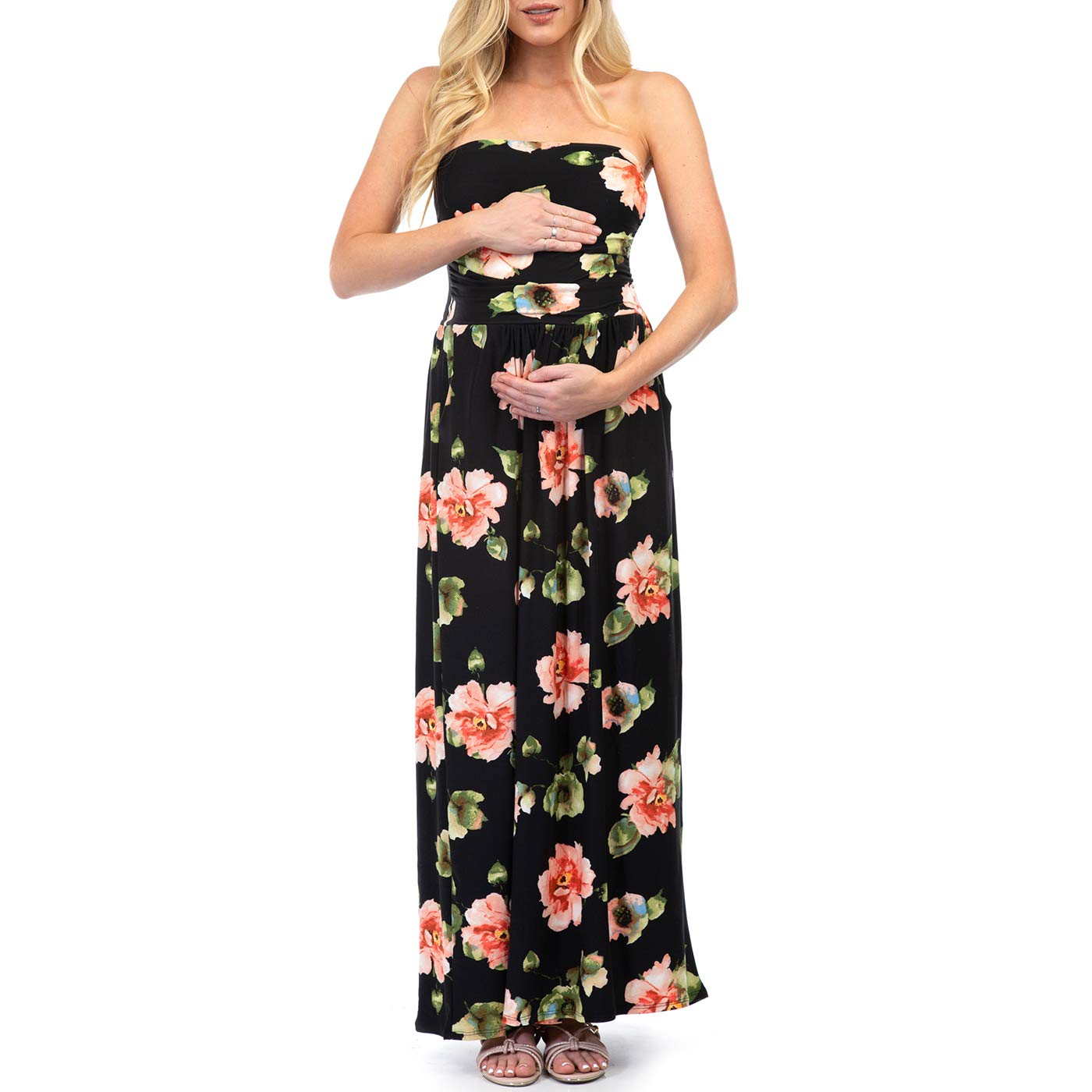 f463ed91c5d Women s Strapless Ruched Maxi Tube Maternity Dress with Pockets by Rags and  Couture - Made in USA at Amazon Women s Clothing store