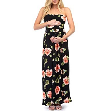 7de9ac9803687 Women's Strapless Ruched Maxi Tube Maternity Dress with Pockets by ...