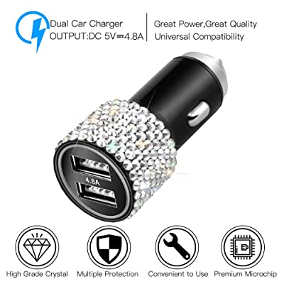 Silver HTC Otostar Dual USB Car Charger Quick Charge 3.0 Bling Crystal Diamond Car Decorations Accessories Fast Charging Adapter for iPhones Android iOS Samsung Nexus LG