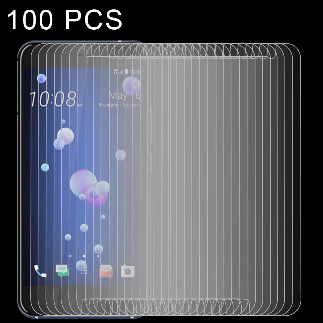 ZENGMING Tempered Glass Film Screen Protector 100 PCS 0.26mm 9H 2.5D Tempered Glass Film for HTC U11 Anti-Scratch