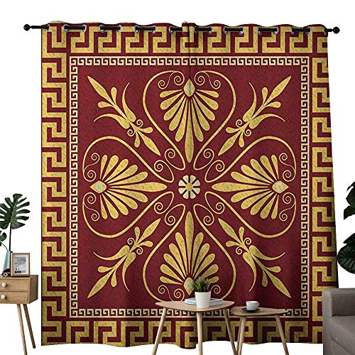 NUOMANAN Curtains 63 inch Length Greek Key,Old Fashioned Frame Design with The Greek Labyrinth and Curly Leaves Flowers, Ruby Yellow,Insulating Room Darkening Blackout Drapes for Bedroom 52