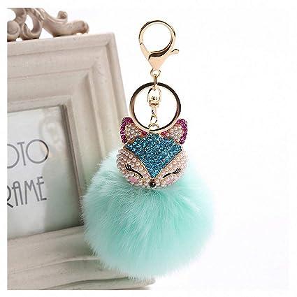 Amazon.com  Womens Charms Crystal Faux Fox Fur Keychain Women Trinkets  Suspension On Bags Car Key Chain Key Ring Toy Gifts Llaveros Jewelry 7C0394  Light ... 0924f1263e