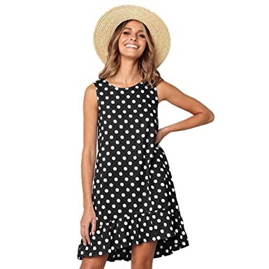 25712f547 Beauty Collector Women Black Polka Dot Dress Sleeveless A-Line Casual Loose  Dress with Pocket