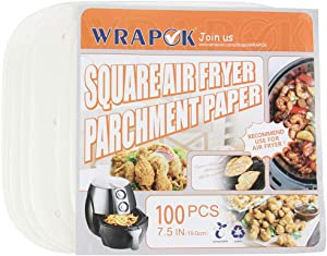 WRAPOK Air Fryer Parchment Paper Liners 7.5 Inch Square Perforated Non-Stick Sheets for Meats, Chips or Cookies - 100 Count