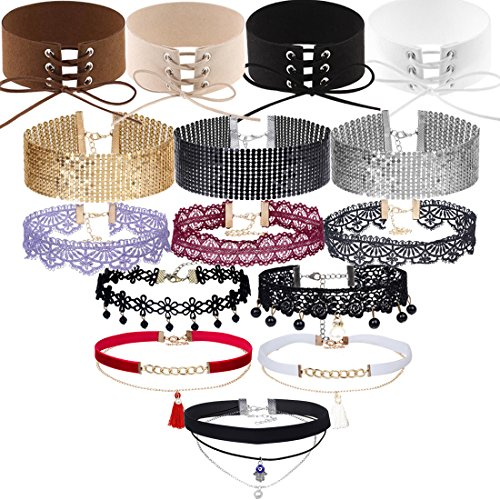 Tpocean 15 Pcs Chic Colorful Choker Necklace Harajuku Velvet Belt Tattoo Lace Rhinestone Collar with Pendant Birthday Gifts