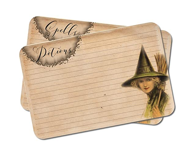 Amazon com: Spells & Potions Cards, Halloween Recipe Cards, Witch