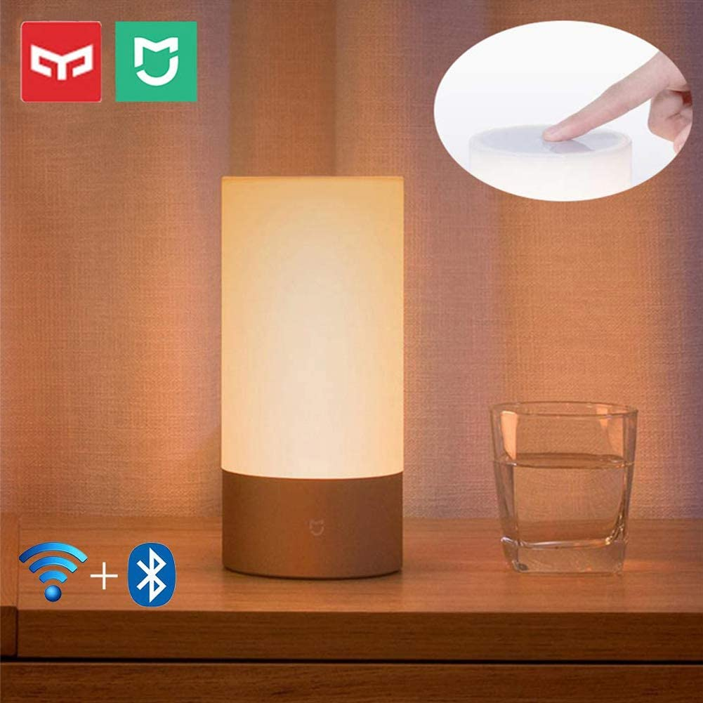 Yeelight Lamparas de Mesa Regulable, Mijia 10W 1700K-6500K USB Regulable 16 Million Color Variable LED Beside Lamp Lámpara de Cabecera Niños,WiFi & Bluetooth Control,Compatible with Alexa Google H