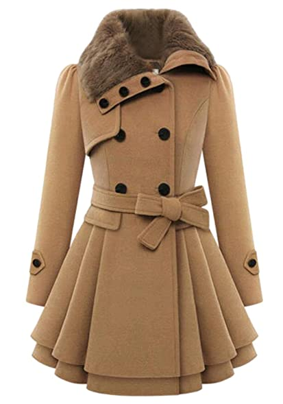 Amazon.com: JXG Womens Autumn Wool Blend Lapel Double-breasted Pea ...
