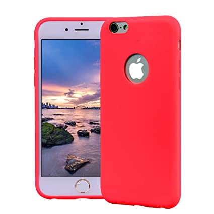Funda iPhone 6, Carcasa iPhone 6S Silicona Gel, OUJD Mate Case Ultra Delgado TPU Goma Flexible Cover para iPhone 6/6S - Rojo