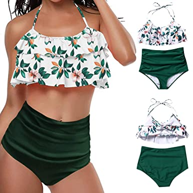 f9cc7e4285d8 Amazon.com: ALLureLove Swimsuits for Women Two Piece Retro Flounce High  Waisted Bathing Suit Swimwear Bikini Sets: Clothing