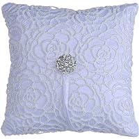 Aofocy Rhinestone floral nupcial ceremonia de boda bolsillo anillo portador almohada cojín