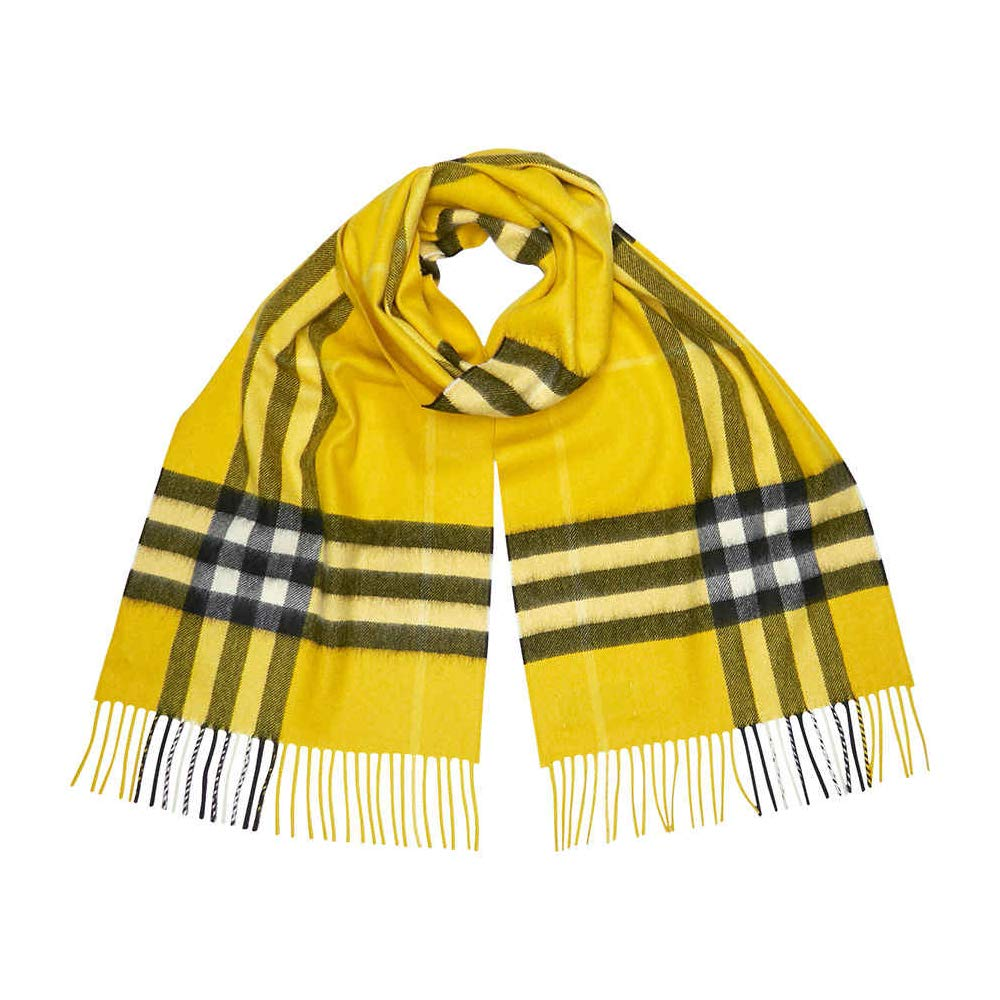 Burberry Unisex Classic Check Cashmere Scarf Yellow