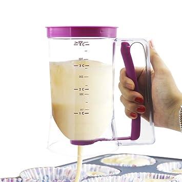 Compra APMAX Dispensador de Masa para Tortitas Hornear Herramienta Squeeze Botella con medición Etiqueta para Pancake Cake Cupcake Moldes Cocina ...