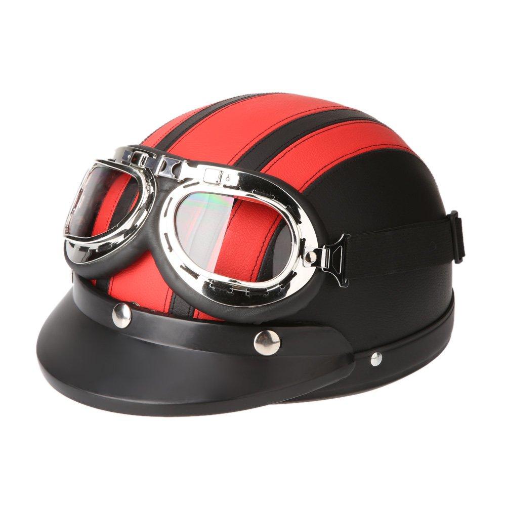 Anself Kkmoon Motor Fiets Open Face Helmet Half Lederen Met Vizier UV Beschermbril Vintage Style 54-60 cm