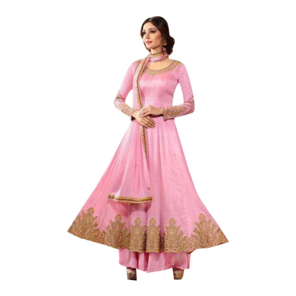 Listo para usar 32-44 talla étnico diseñador Anarkali traje vestido ...