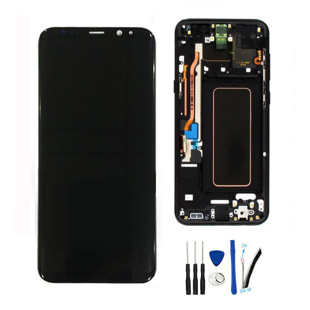 LCD Display Screen Digitizer Touch Panel Assembly Replacement For Galaxy S8+ Plus G955 G955U G955F G955A G955P G955V G955T G955R4 6.2Inch Midnight Black w/Frame