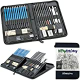 NiftyArtistry Drawing and Sketching Art Set in Zippered Carrying Case; Graphite, Pastel, and Charcoal Pencils, Willow Sticks, Paper Blending Stumps; for Beginner to Professional Artists; 40-Piece Set