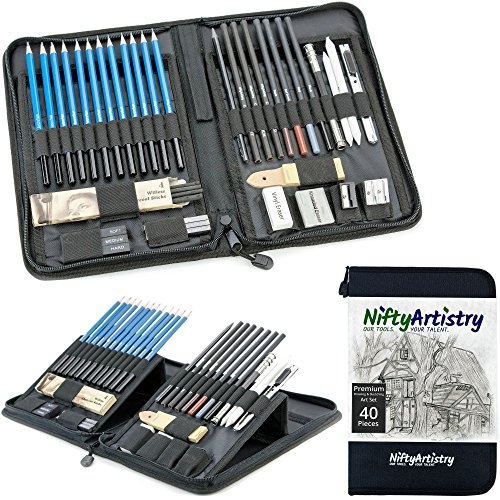 NiftyArtistry Drawing and Sketching Art Set in Zippered Carrying Case; Graphite, Pastel, and Charcoal Pencils, Willow Sticks, Paper Blending Stumps; for Beginner to Professional Artists; 40-Piece Set by NiftyArtistry