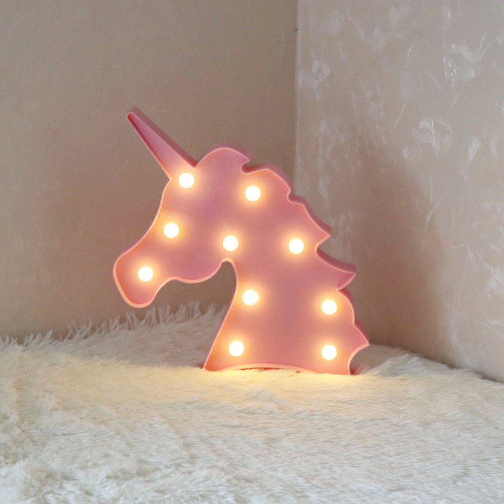 LED Unicorn Head Light Animal Night Lamp Kids Bedroom Home Decoration, Accmor Light Up Christmas Party Wall Decoration Battery Operated (Pink)