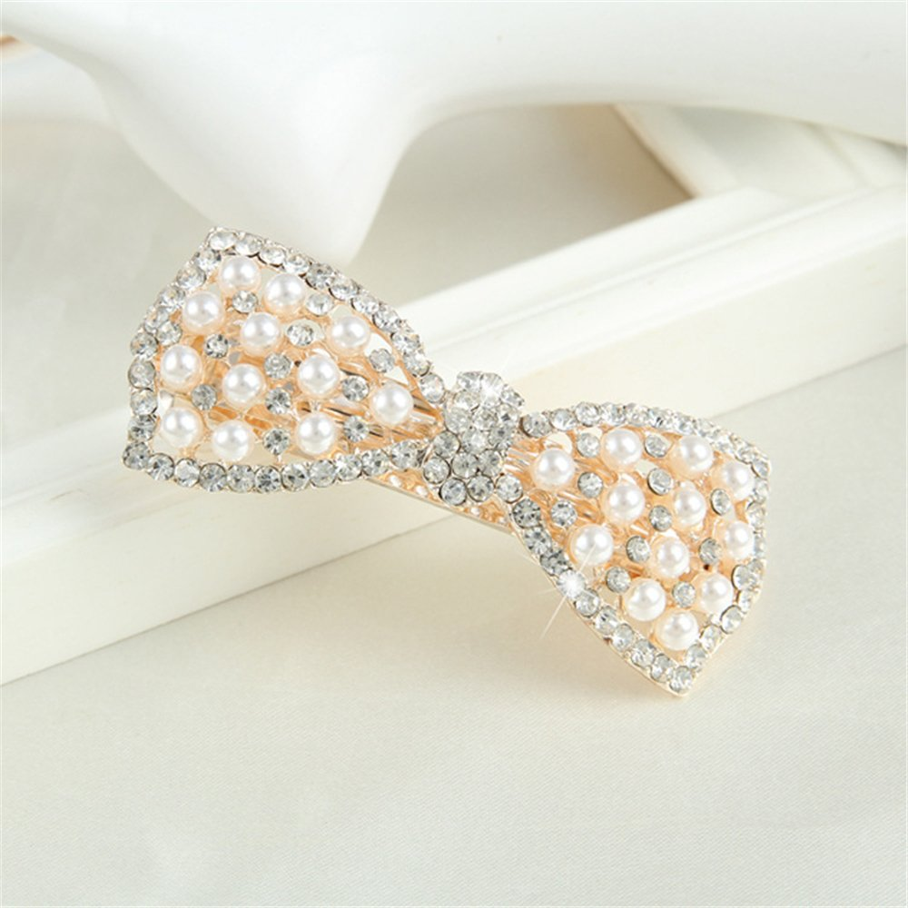 Youmei® Fashion Crystal Hairpin Pearl Diamond Bow Hair Barrettes for Women And Girls