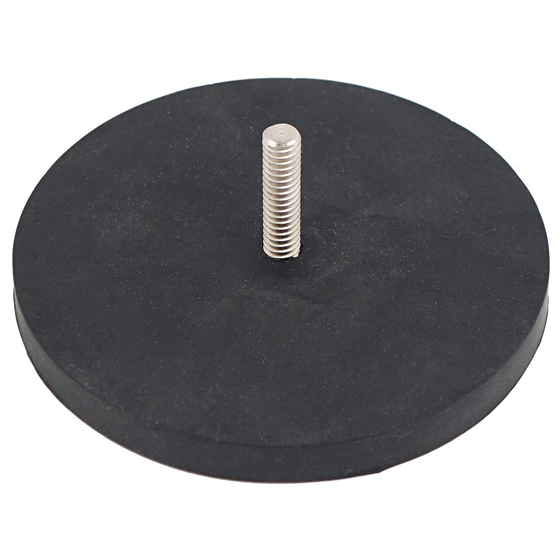 Master Magnetics NADR351MBX Retaining Magnet with 1/4-20 Threaded Stud, Rubber Covered Black, 3.51'' Diameter, 1.32'' Overall Height, 105 lb. of Pull, Zinc Plated Housing