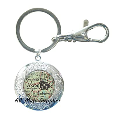 Amazon Com Allmapsupplier Charming Locket Keychain Akron Ohio Map