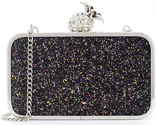 Dexmay Womens Evening Bag Bling Sequin Clutch Bag with Pineapple Clasp Glitter Clutch Purse Multi Black -