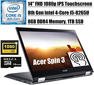 "Acer Spin 3 Convertible 2 in 1 Business Laptop Premium 2020 I 14"" FHD IPS Touchscreen I 8th Gen Intel Quad-Core i5-8265U(> i7-7500U) I 8GB DDR4 1TB SSD I WiFi HDMI Win 10 + Delca 16GB Micro SD Card"