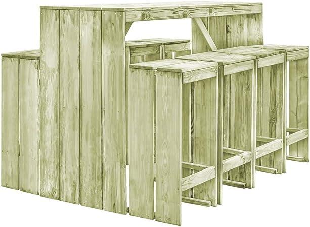Tidyard Conjunto de Mesa y 8 Taburetes,Conjunto de Comedor de Jardín para Balcón Terraza Patio,Madera de Pino Impregnada FSC: Amazon.es: Hogar
