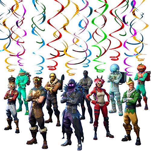 Multicolored Gaming Characters Hanging Swirls - Video Game Party Supplies - Birthday Decorations for Gamers Boys Kids Adults Teens -