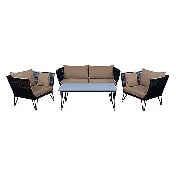 Loungemöbel Outdoor Timor Sofagruppe 4tlg Stahl/Gurt Gartenmöbel Design  Gartenlounge Modern Wetterfest