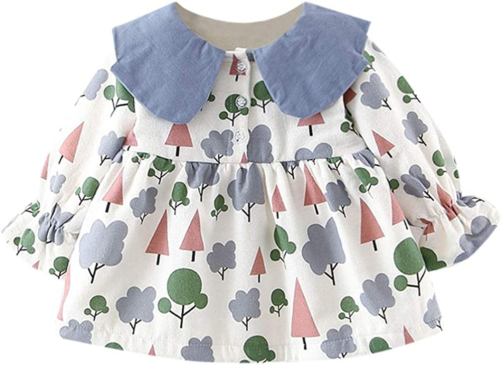 Theshy Newborn Infant Baby Girls Long Sleeve Tree Floral Print Dress Outfit Clothes Sweater Cardigan Warm Thick Coat Clothes