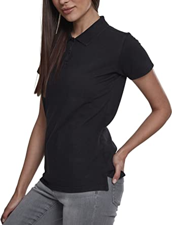 08e60d8befe Urban Classic Women s Ladies Wash Polo Tee Shirt Black  Amazon.co.uk   Clothing