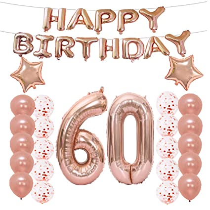 LQQDD 60th Birthday Decorations Party Supplies60th Balloons Rose GoldNumber 60 Mylar