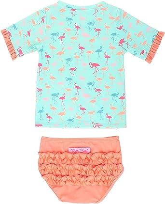 RuffleButts Baby//Toddler Girls Seersucker Rash Guard 2-Piece Short Sleeve Swimsuit Set with UPF 50 Sun Protection