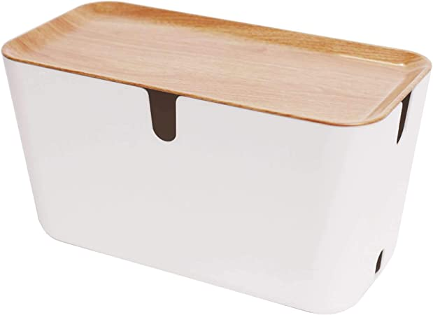 Bosign Hideaway XXL - Caja para cables (plástico, 46 x 21,5 x 24,5 cm), color blanco y marrón: Amazon.es: Hogar