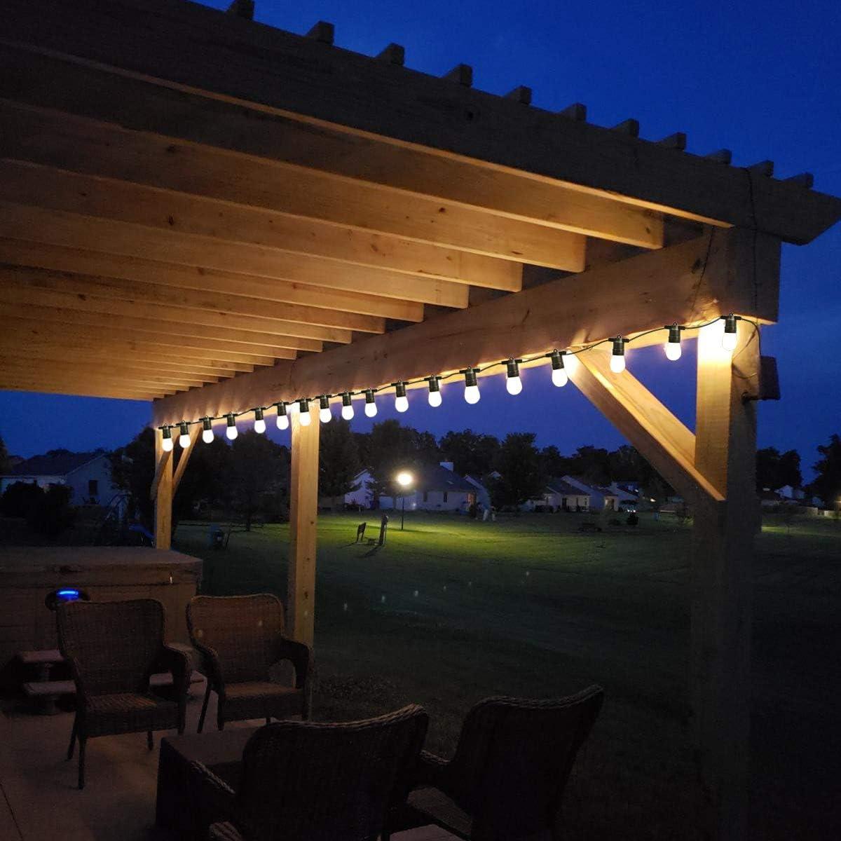 Luces de cadena al aire libre 8,2 m IP65 impermeable S14 bombillas solares E26 zócalos 3 luces LED de atenuación luz blanca cálida para interior patio boda (10 bombillas): Amazon.es: Iluminación