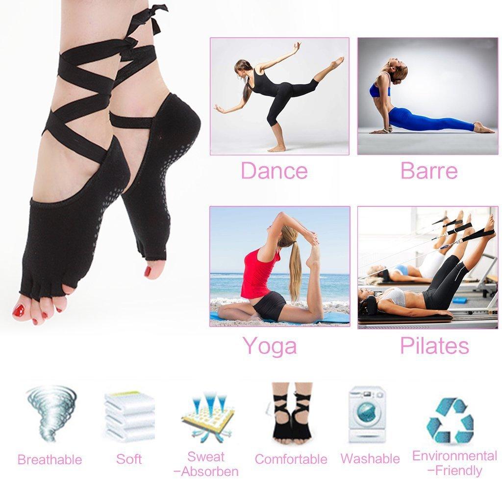 Calcetines de yoga antideslizante para mujeres Fitness, Baile, Pilates, Ballet, Calcetines sin puntas con agarre, Algodón transpirable, Tamaño del calzado ...