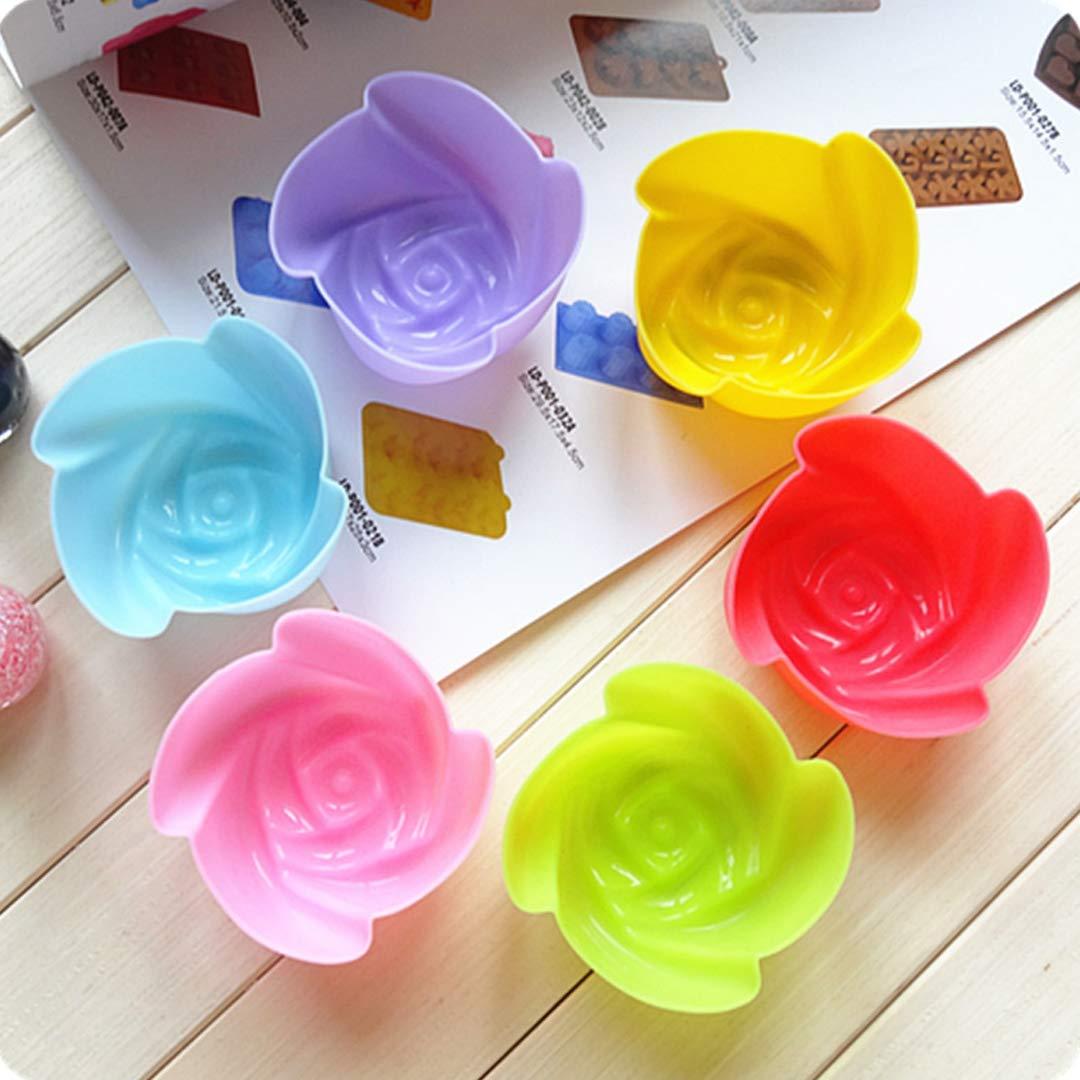 BeesClover Rose Design Baking Mini Muffin Cups Reusable Safe Silicone Cupcake Molds Nonstick Mold 1pcs