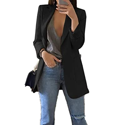Andongnywell Women's Solid Long Sleeve Slim Suit Jacket Open Front Blazer Fit Work Office Cardigan Coat: Clothing