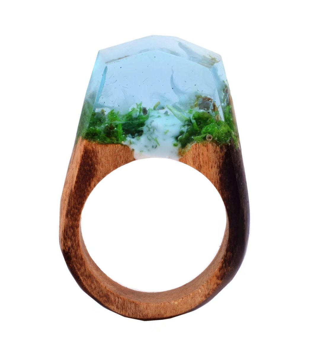 Heyou Love Handmade Wood Resin Ring With Nature Waterfall Scenery Landscape Inside Jewelry