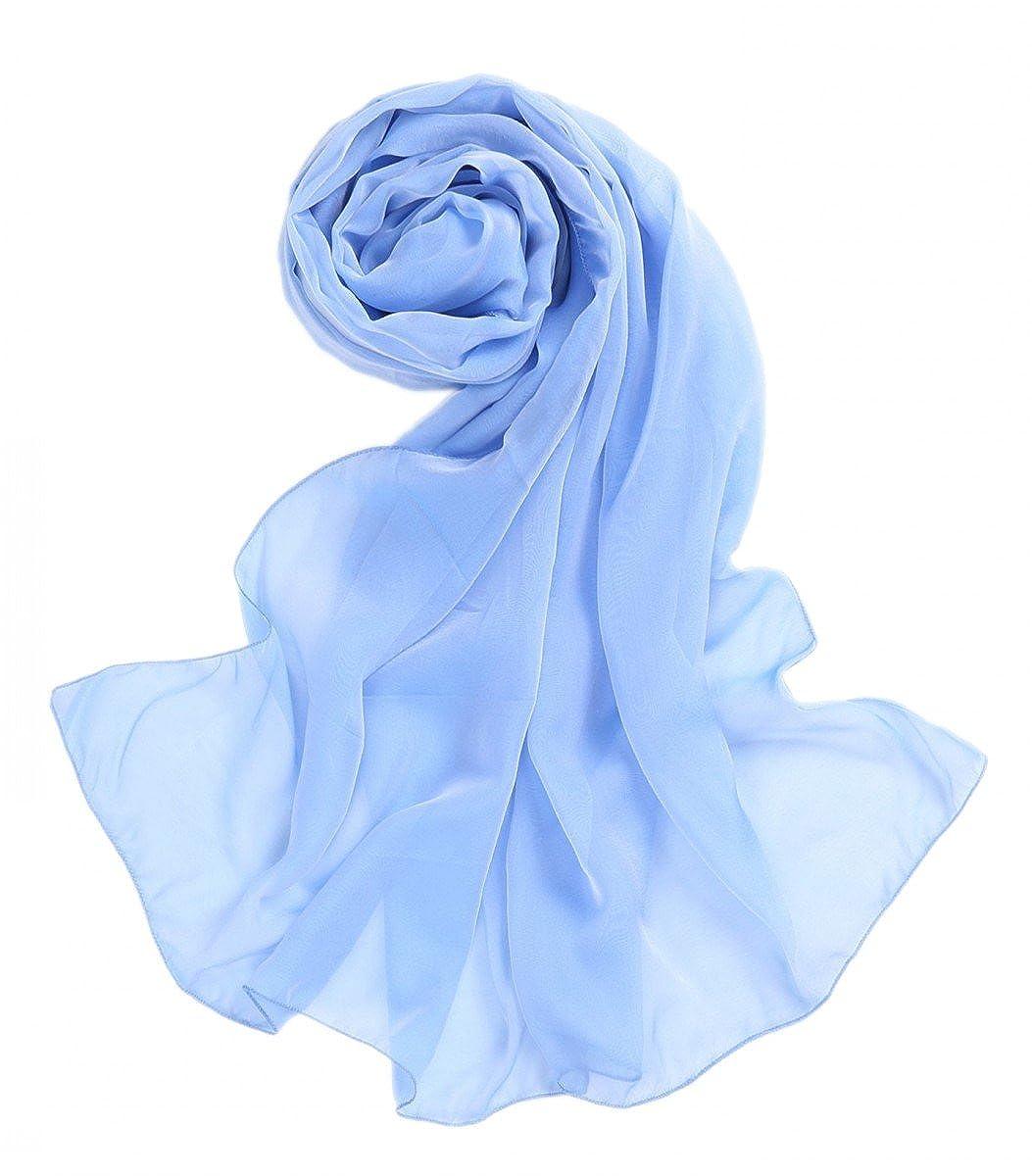 Prettystern Women Stola L - XXL 100% Silk Scarf Rainbow Taffeta 2 Colour Iridescent for Party Evening Dress