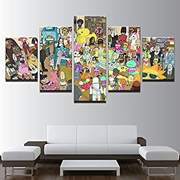 Rick and morty characters canvas wall art framed 5 panel size 2 30x40cmx2