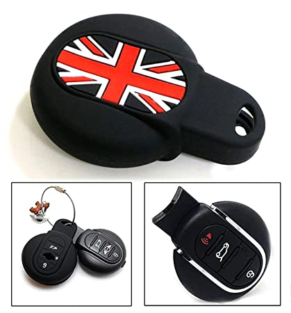 Cuztom Tuning For 2015 2017 F56 Mini Cooper S Blk Black Union Jack Silicone Key Fob Soft Cover Case
