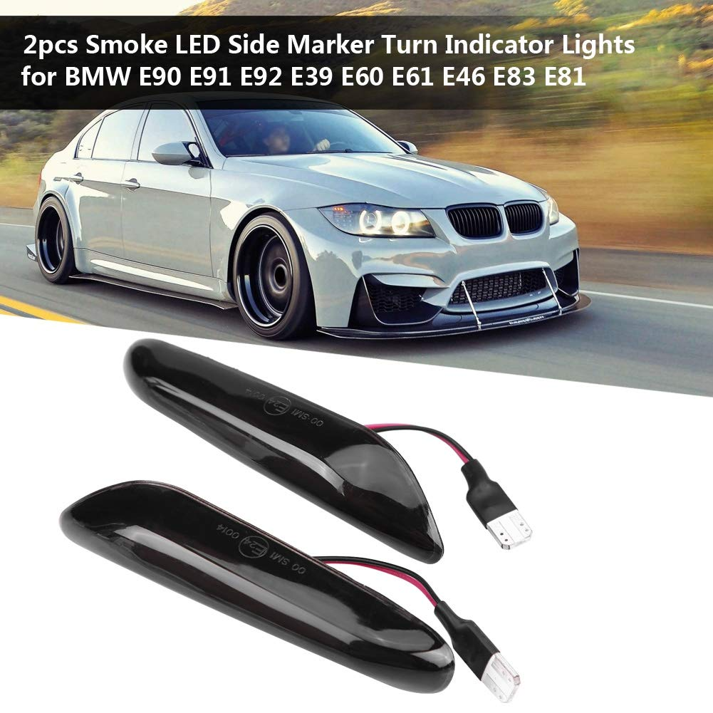 EBTOOLS 2PCS Smoke LED Indicator LED Side Marker Turn Indicator Lights for E90 E91 E92 E39 E60 E61 E46 E83 E81​