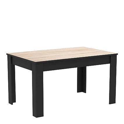 Demeyere Table à Manger Haute Style Industriel En Bois Capacité De 4 à 6 Personnes Collection Wayne Chêne Brosse Noir Mat Ll 138 4 Cm X P 90 Cm